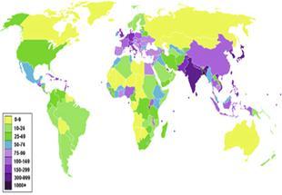Nüfus Dünya üzerindeki Sik Nüfuslu Ve Seyrek Nüfuslu Bölgeler Ve